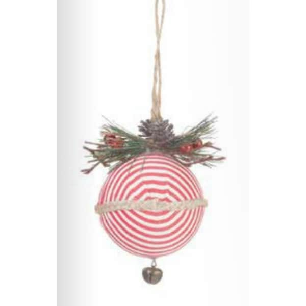 """4.75"""" Country Rustic Red and White Striped Ball Christmas Tree Ornament with Pine and Berry Accent"""