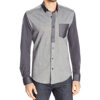 VINCE CAMUTO NEW Gray Mens Large L Contrast Sleeve Button Down Shirt