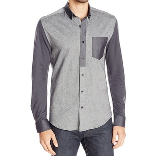 VINCE CAMUTO NEW Gray Mens Small S Contrast Sleeve Button Down Shirt