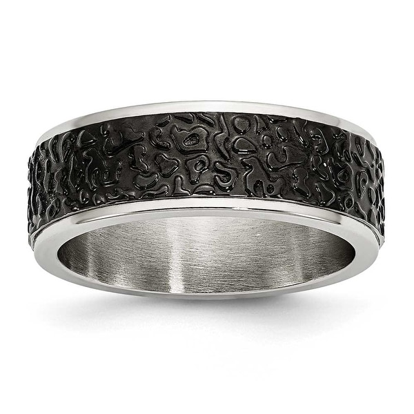 Chisel Stainless Steel Polished and Textured Black IP-plated Band