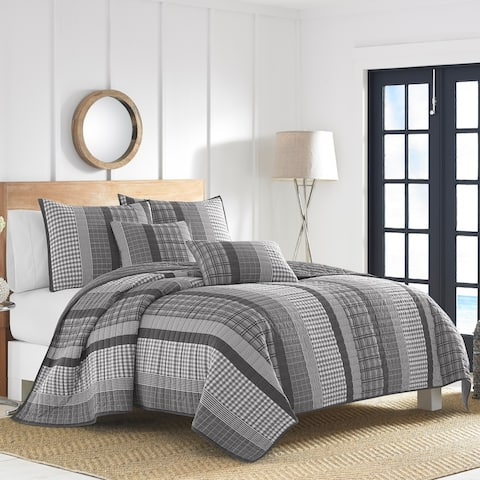 Nautica Gulf Shores Charcoal Quilt Set