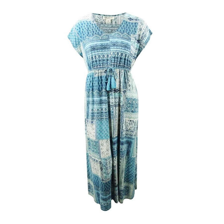 Style & Co. Womens Plus Size Patchwork-Print Maxi Dress - Maroccan Patch