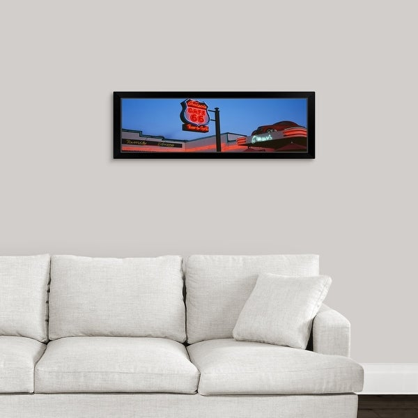 """""""Low angle view of a road sign Route 66 Arizona"""" Black Framed Print"""