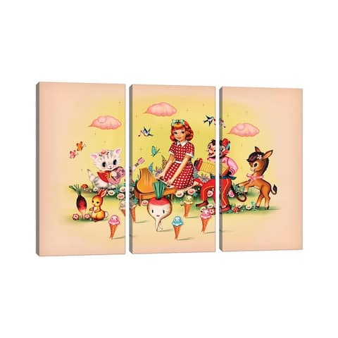 "iCanvas ""Coney Island"" by Fiona Hewitt 3-Piece Canvas Wall Art Set"