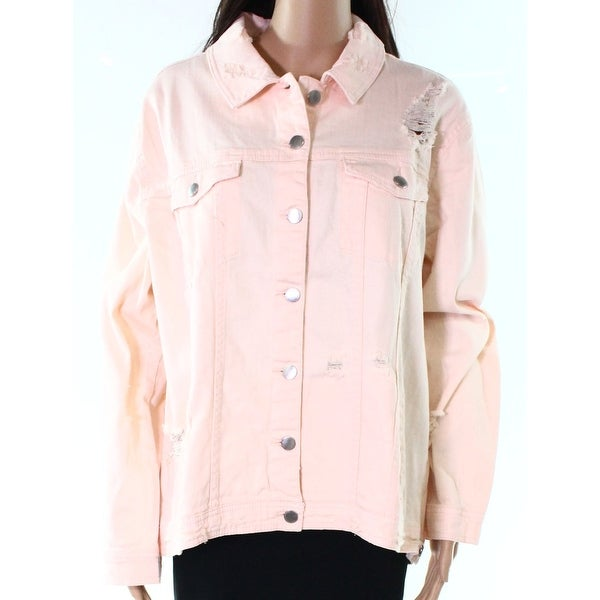 Rachel Rachel Roy Orange Women's Size XXL Ripped Denim Jacket