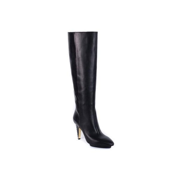 48055586643 Shop Roberto Cavalli Women s Black Leather Knee High Boots - Free ...