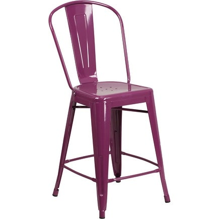 Brimmes 24'' High Purple Metal Indoor/Outdoor/Patio/Bar Counter Height Stool w/Back