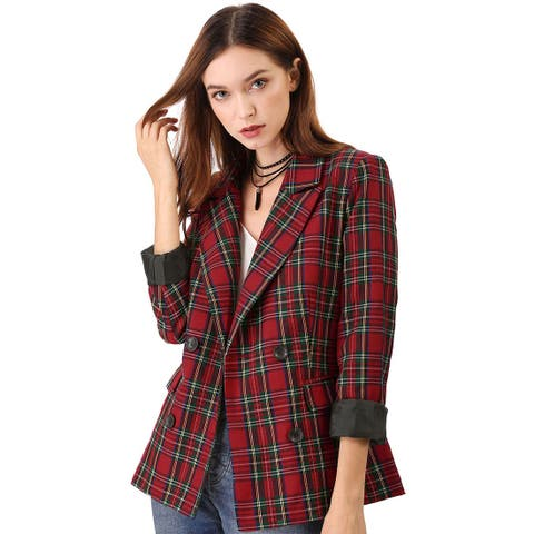 Women's Notched Lapel Double Breasted Plaid Formal Blazer Jacket