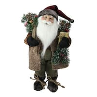 "16"" Country Rustic Standing Santa Claus Christmas Figure with Present - brown"