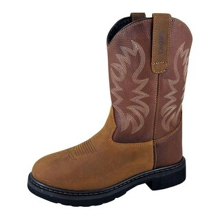 Smoky Mountain Boots Work Mens Buffalo Wellington Steel Toe Brown