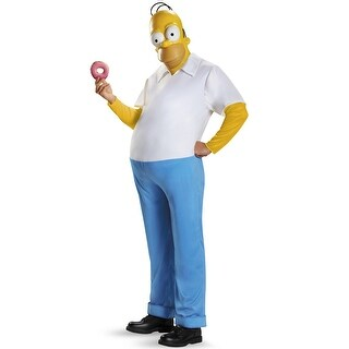 Disguise Homer Deluxe Adult Costume - whote/blue