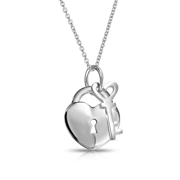 485afa2f145917 Shop Love Lock And Key Heart 2 Charm Pendant For Women Polished 925 Sterling  Silver Necklace 16 In - On Sale - Free Shipping On Orders Over $45 -  Overstock ...