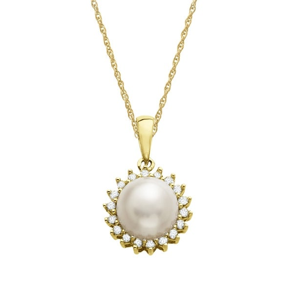 Freshwater Pearl and 1/8 ct Diamond Pendant in 10K Gold