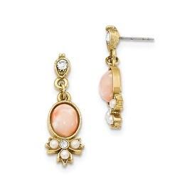 Goldtone Downton Abbey Black Enamel Black Acrylic Stone Crystal Earrings