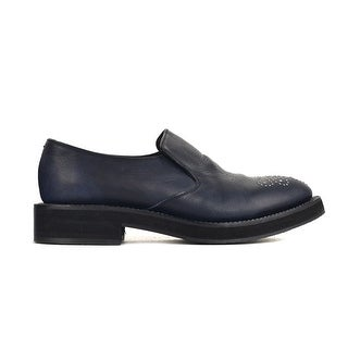 Brunello Cucinelli Navy Leather Embellished Slip Ons