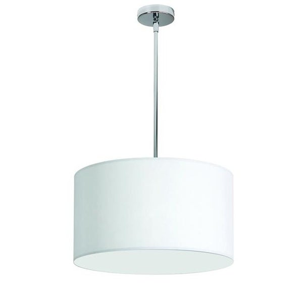 1 Light Drum Shade Pendant White Fabric Polishe