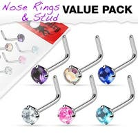 6 Pcs Value Pack of Assorted Round 2mm Prong Set CZ Top 316L Surgical Steel L Bend Nose Ring