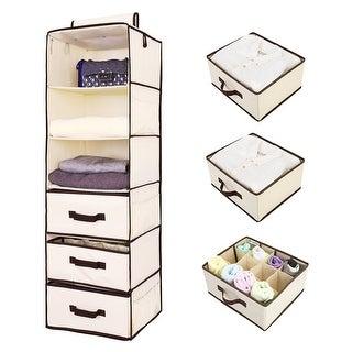 StorageWorks 6 Shelf Hanging Closet Organizer With 3 Drawers, Natural
