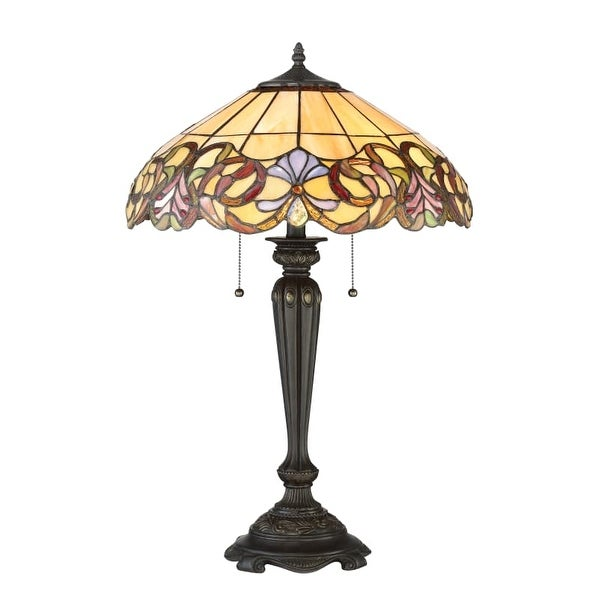 Quoizel Tf2802t Blossom 2 Light 27 Tall Buffet Style Table Lamp With Tiffany Gl