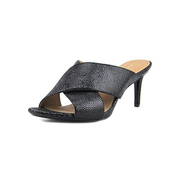 Calvin Klein Womens Lucie Mules Leather Textured