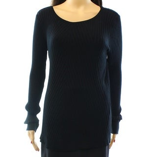 INC NEW Black Solid Deep Women's Size XL Crewneck Ribbed-Knit Sweater