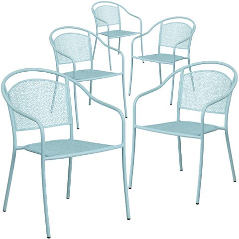 5 Pack Indoor-Outdoor Steel Patio Arm Chair with Round Back