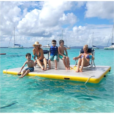 Solstice Inflatable Floating Dock Size 10' Long x 10' Wide / Model 31010 - White/Yellow
