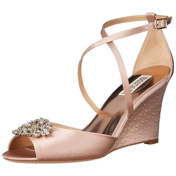 Badgley Mischka Womens Abigail Wedge Sandal Blush Size 100