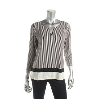 Calvin Klein Womens Blouse Striped 3/4 Sleeves