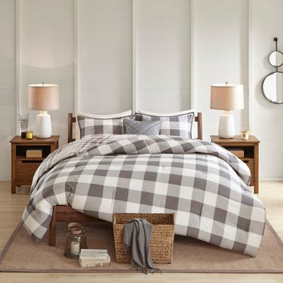 Madison Park Diedrick Grey 4 Piece Cotton Printed Reversible Comforter Set