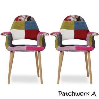 2xhome - Set of 2, Upholstered Modern Organic Chairs Arm Armchairs Solid Wood Natural Legs Dining Chairs Living Room Restaurant