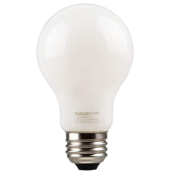 TORCHSTAR 4.5W LED Dimmable A19 Frosted Glass Filament Light Bulb. Opens flyout.
