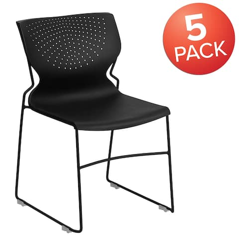 5 Pack 661 lb. Capacity Full Back Stack Chair with Powder Coated Frame
