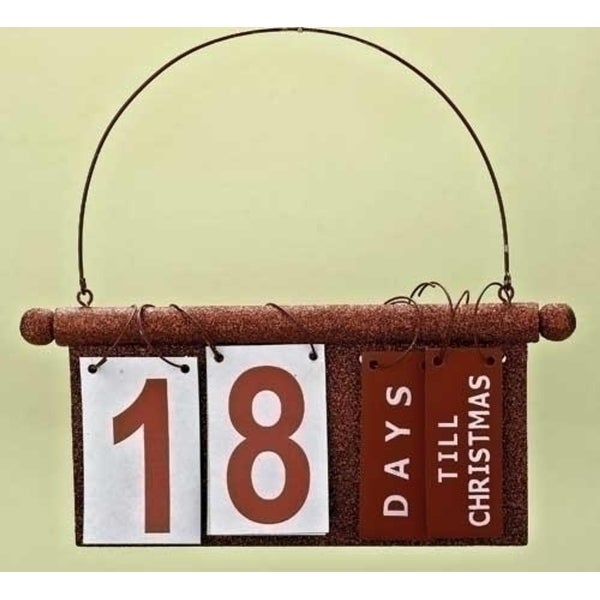 """9.25"""" Sparkling Red Hanging Christmas Countdown Holiday Sign"""