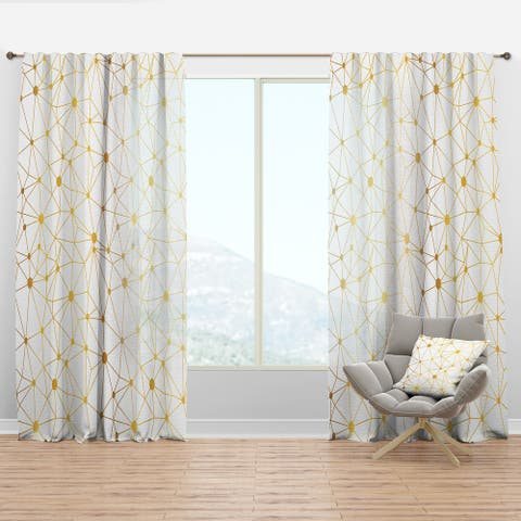 Designart 'Golden Grid I' Mid-Century Modern Curtain Panel