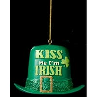 "3"" Luck of the Irish Glittered Green Top Hat ""Kiss Me I'm Irish"" Christmas Ornament"