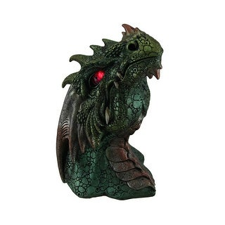 Hand Painted Dragon Head Statue W/ Red LED Eyes - Green