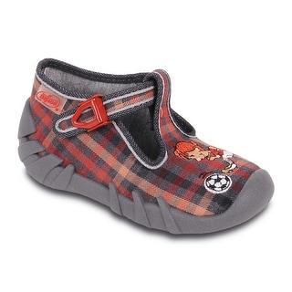 Befado Boys' Soccer Player T-Strap Slippers