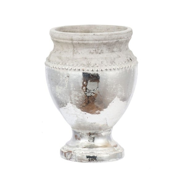 "11"" White and Silver Vintage Style Distressed Uma Pedestal Vase - N/A"