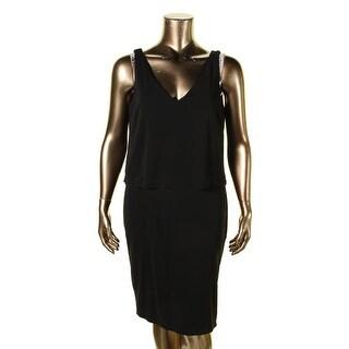 Lauren Ralph Lauren Womens Special Occasion Dress Jersey Layered Black XL