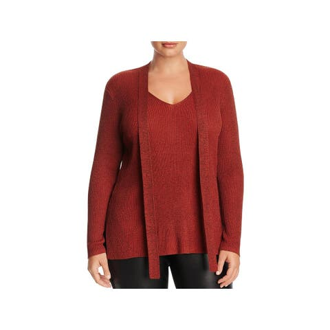 Love Scarlett Womens Plus Choker Sweater Metallic Ribbed Knit