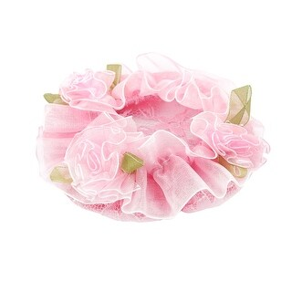 Flower Design Elastic Meshy Ballet Dance Skating Bun Cover Band Hair Net Pink
