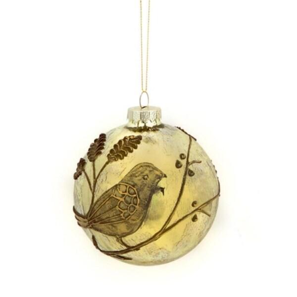 """Enchanted Forest Light Gold Bird Christmas Glass Ball Ornament 4"""" (100mm)"""