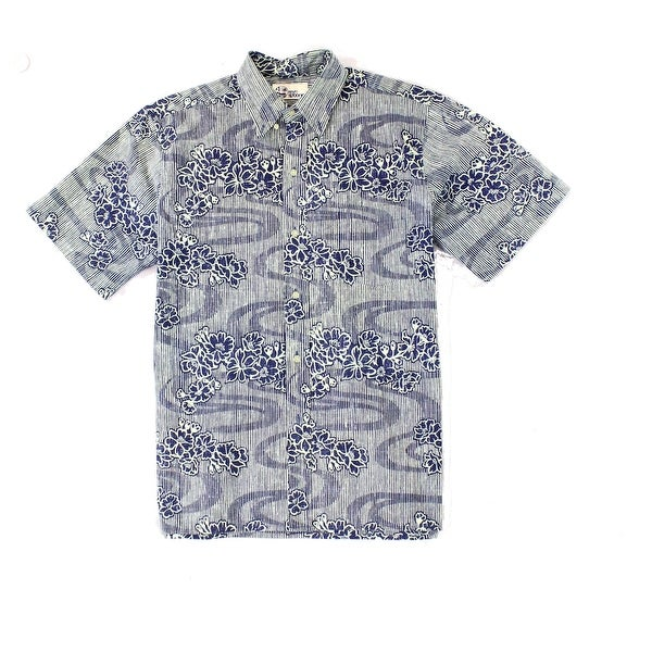 6c2f85f1d4e Shop Reyn Spooner Blue Men Size Medium M Button Floral Stripe Print Shirt -  Free Shipping Today - Overstock.com - 22313316