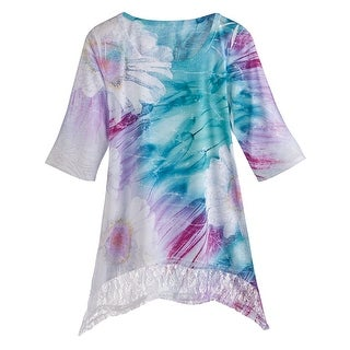 Women's Tunic Top - Oversized Floral Print Lace Hem 3/4 Sleeves - Blue