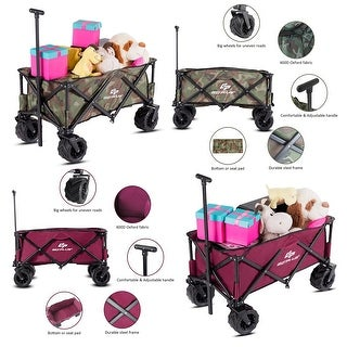 Goplus Collapsible Folding Wagon Cart Outdoor Utility Garden Trolley Buggy Shopping Toy Camouflage colorwine red
