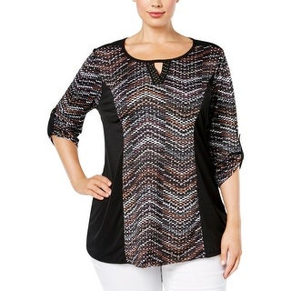 NY Collection Womens Plus Pullover Top Printed Embellished