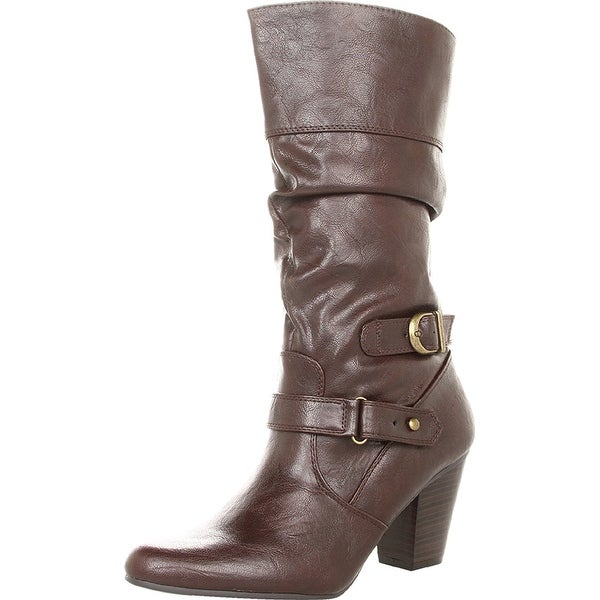 White Mountain Womens Ginger Leather Almond Toe Mid-Calf Fashion Boots