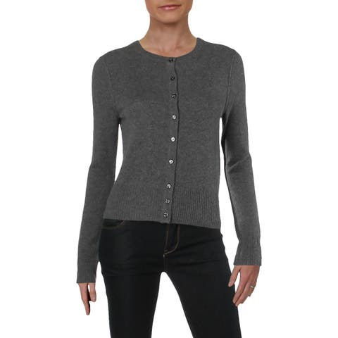 Aqua Womens Cardigan Sweater Cashmere Crewneck