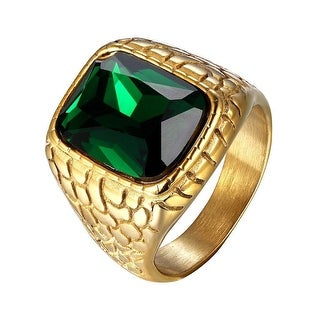 Green Solitaire Mens Ring Nugget Style Stainless Steel 14k Gold Tone Classy